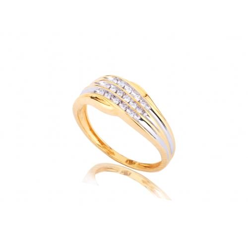 Pierścionek złoty dwukolorowy z brylantami