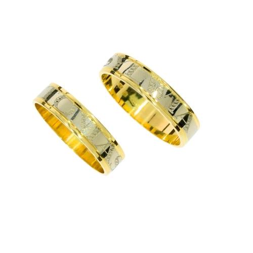 Obrączki ślubne z imionami płaskie 5mm 585 para