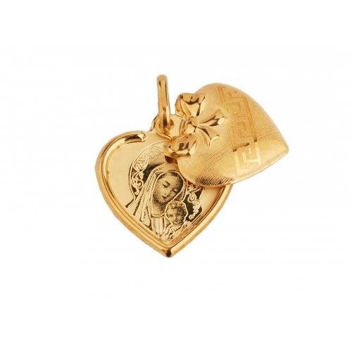 Medalik złoty z Matką Boską SERCE otwierane