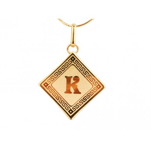 Literka złota na blaszce K