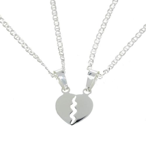 Serce na Walentynki z łańcuszkami srebro 925