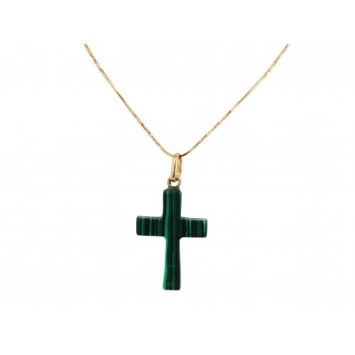 Złoty krzyżyk - malachit zielony