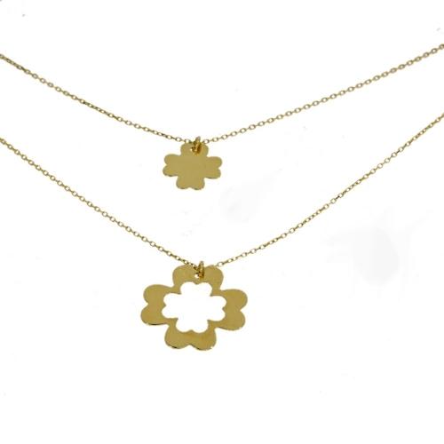 Złota podwójna celebrytka koniczynki z łańcuszkiem 585