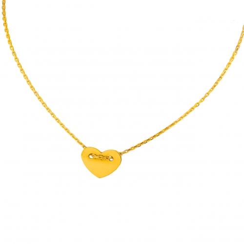 Celebrytka złote serce + łańcuszek 585