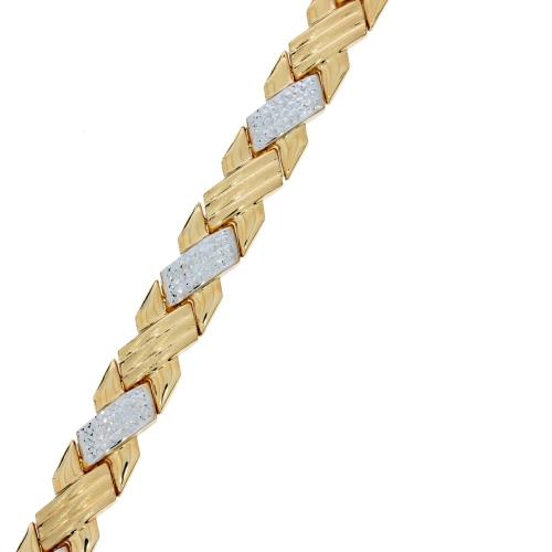 Bransoleta diamentowana dwukolorowe złoto 585