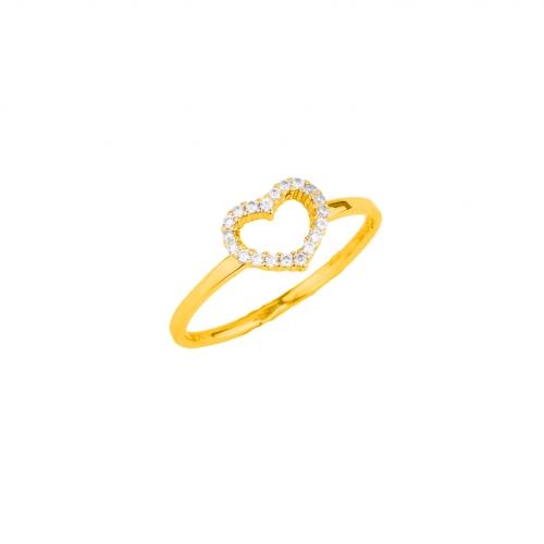 Pierścionek złoty serce cyrkonie Swarovski 585