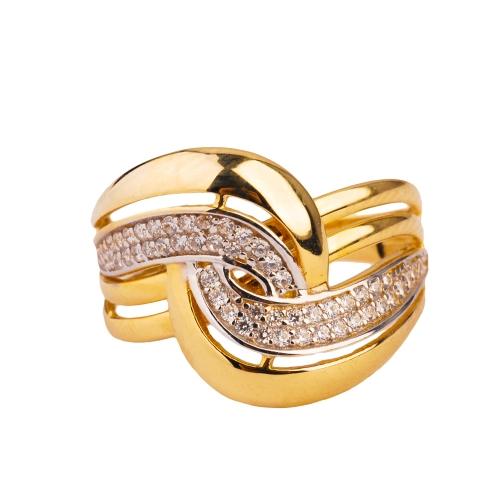 Pierścionek złoty cyrkonie Swarovski 585