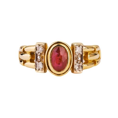 Pierścionek złoty z rubinem 585
