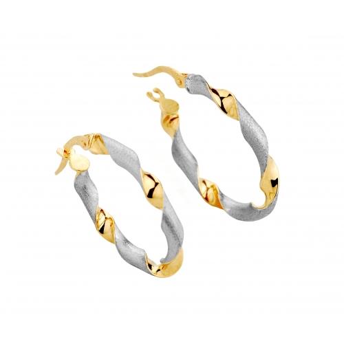 Kolczyki Złote dwukolorowe Kręcone Koła