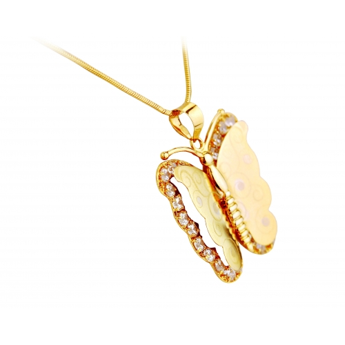 Złoty Motylek z kryształami Swarovski