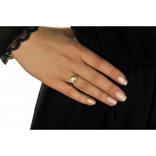 Pierścionek Złoty z greckim wzorem i kryształami Swarovski