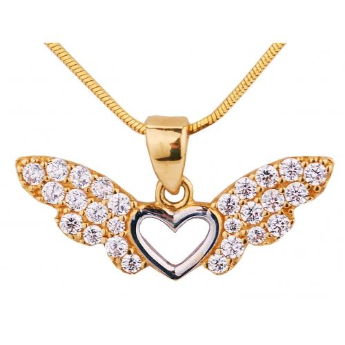 Zawieszka złota SERCE ze skrzydłami