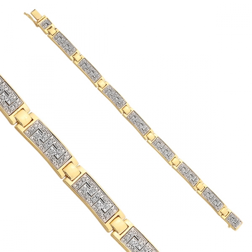 Bransoleta grecki wzór złota cyrkonie Swarovski 585