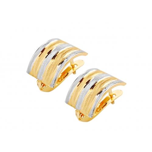 Złote Kolczyki dwukolorowe, wygodne na co dzień 585