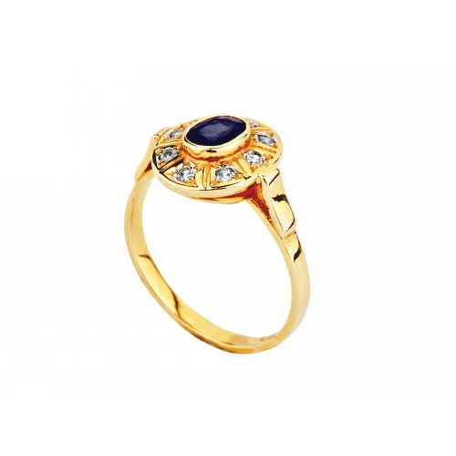 Pierścionek Złoty z ciemnym Szafirem