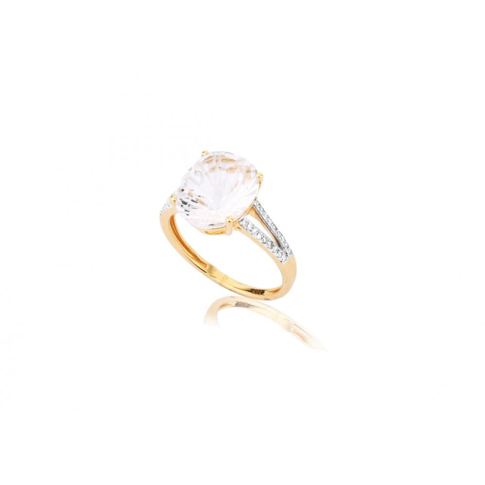 116f8adc998516 Pierścionek złoty z dużym białym topazem - Chaton Jubiler