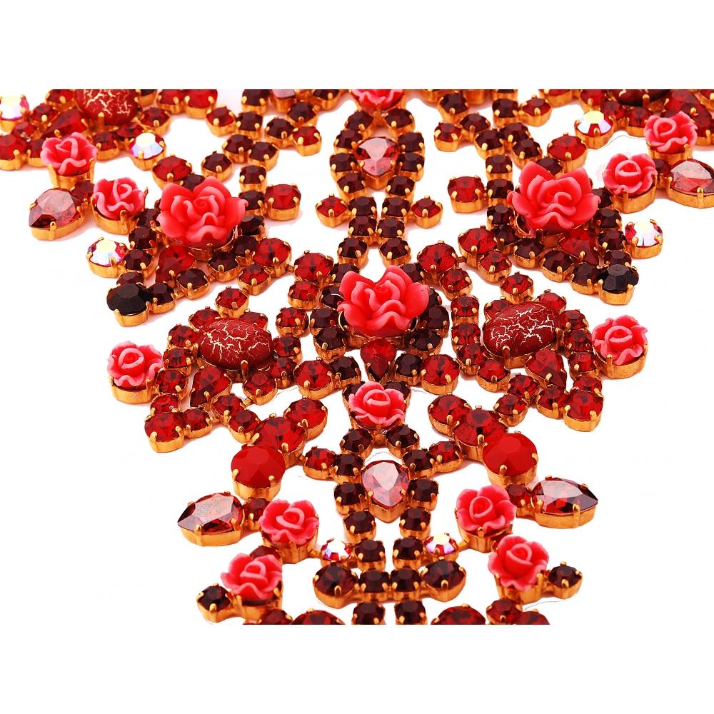 Topnotch Naszyjnik z czerwonymi kryształami Swarovski - Chaton Jubiler MK65
