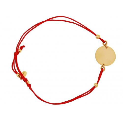 Bransoletka czerwony sznureczek KÓŁKO grawer