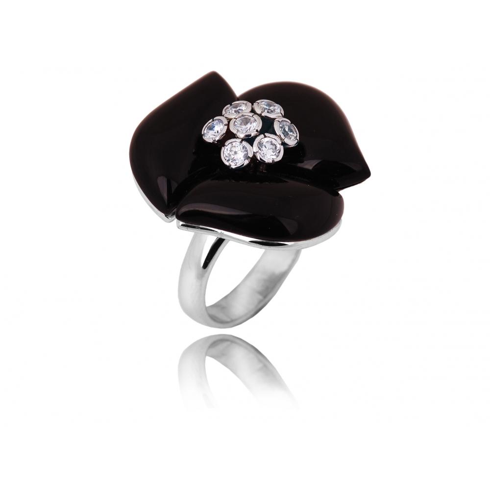 Pierścionek Srebrny Kwiat Czarny Onyks Chaton Jubiler