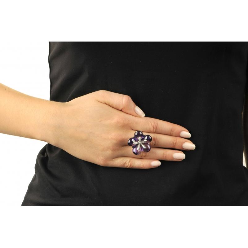 Pierścionek srebrny fioletowy KWIAT