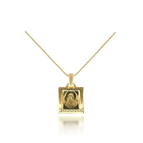Medalik grecki z łańcuszkiem I Komunia Chrzest 585 grawer