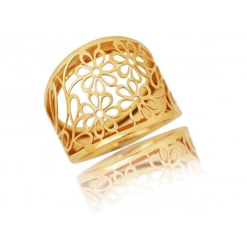Pierścionek złoty ażurowy KWIATY