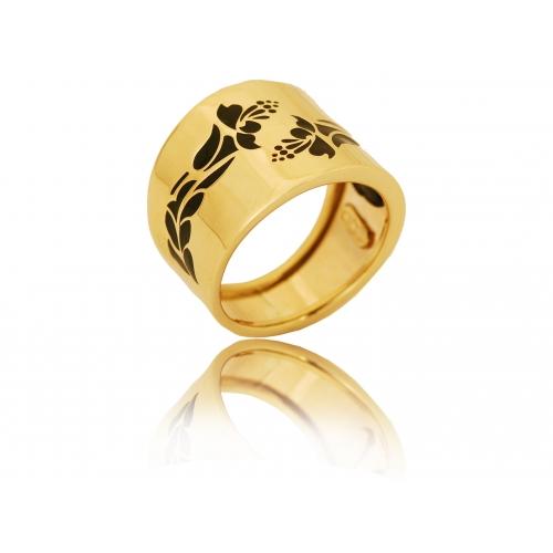 Pierścionek złoty szeroki KWIAT