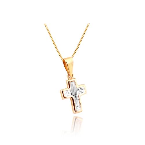Złoty krzyżyk cyrkonie Swarowski 585