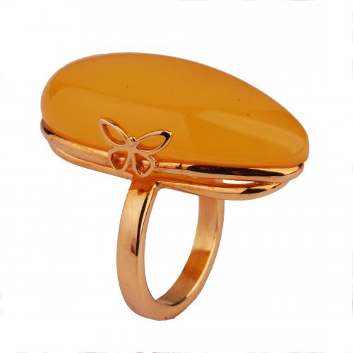 Pierścionek złocony z naturalnym bursztynem