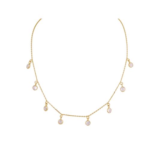 Naszyjnik złoty CHOKER z kryształami Swarovski