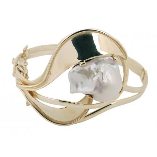 Bransoletka srebrna z dużą perłą