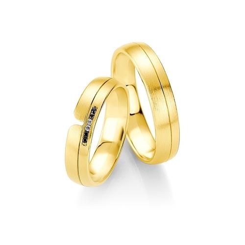 Obrączki BREUNING B&W Black Diamonds - żółte złoto