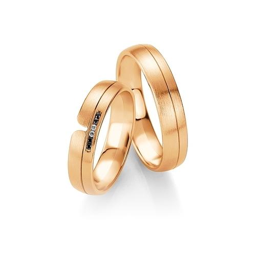 Obrączki B&W Black Diamonds - różowe złoto