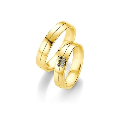 Obrączki B&W Black Diamonds - żółte złoto