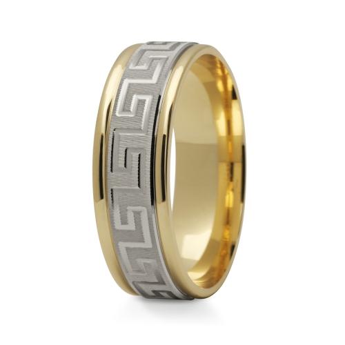 Obrączki ślubne z greckim wzorem szerokie