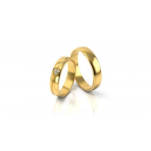 Obrączki serce z żółtego złota Swarovski