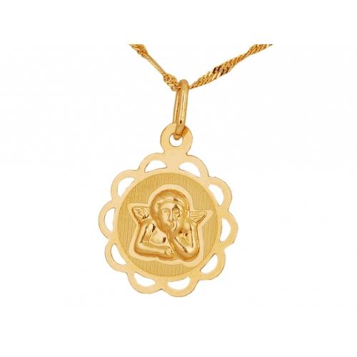 Medalik złoty z aniołkiem