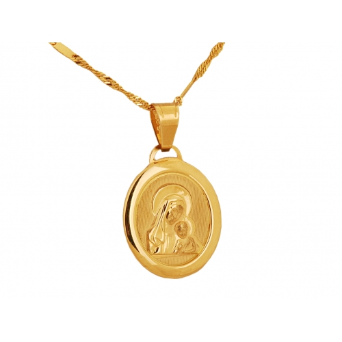 Medalik złoty z Matką Boską