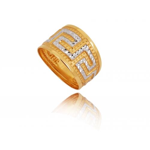 Pierścionek złoty szeroki GRECKI WZÓR