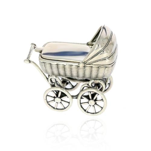 Srebrny wózek na grawer Chrzest z miejscem na ząbek
