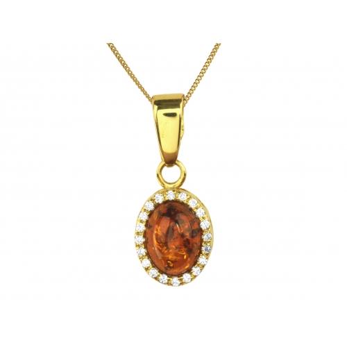 Wisiorek złoty z bursztynem i kryształkami Svarowskiego