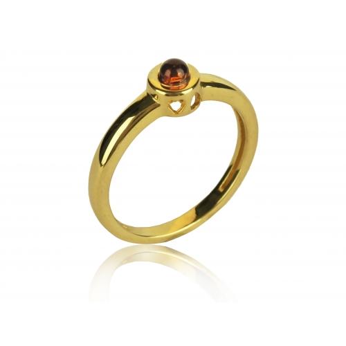 Pierścionek złoty z naturalnym bursztynem
