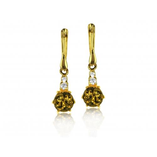 Kolczyki złote z bursztynem i cyrkoniami Swarovskiego