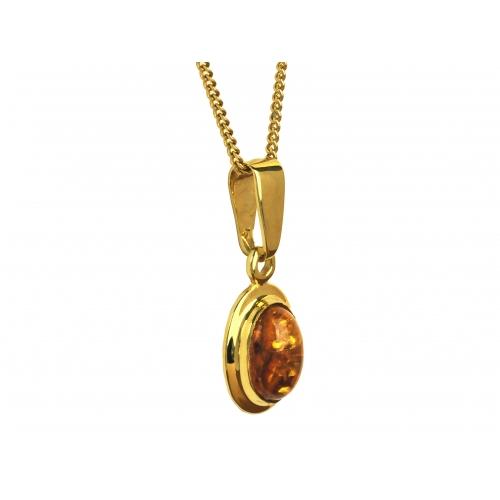 Wisiorek złoty z naturalnym bursztynem