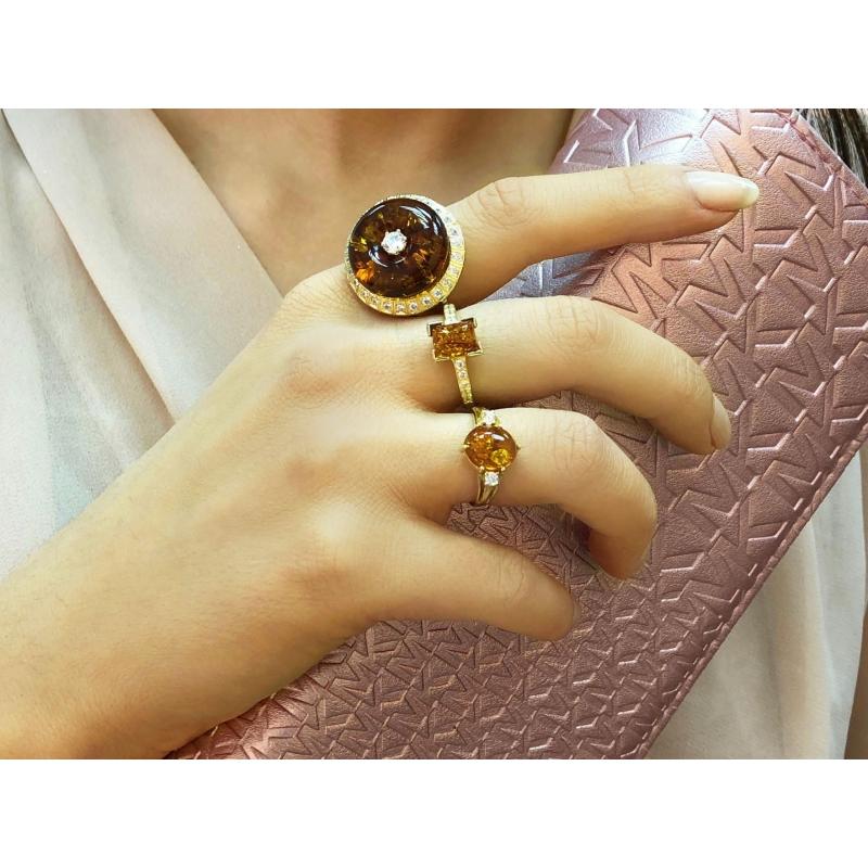 Pierścionek złoty z bursztynem i cyrkoniami Swarovskiego