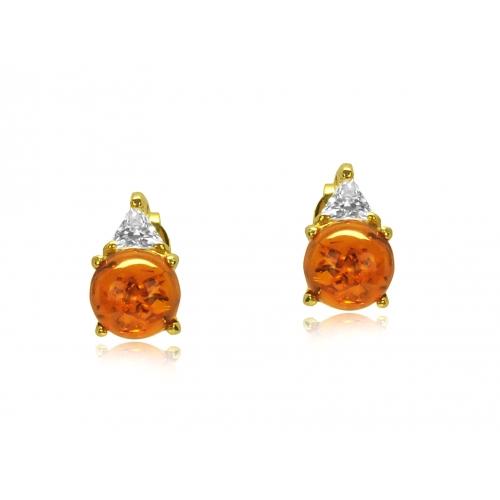 Kolczyki złote z naturalnym bursztynem i kryształkami Swarovskiego