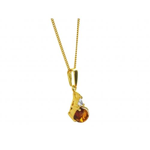 Wisiorek złoty z naturalnym bursztynem i cyrkoniami Swarovskiego