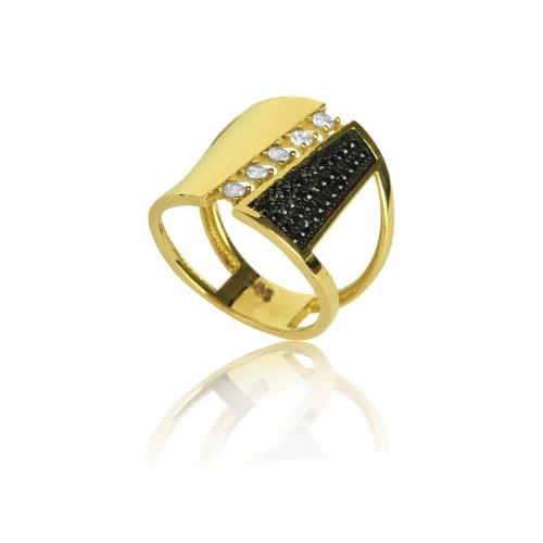 Pierścionek złoty szeroki Swarovski
