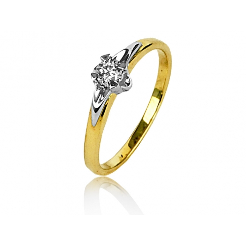 Złoty pierścionek z brylantem i białym złotem