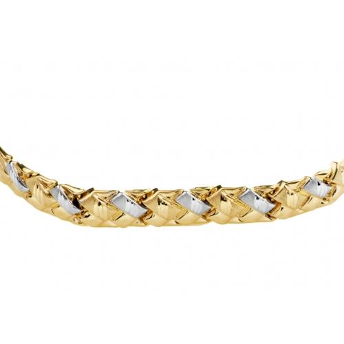 Bransoletka biało-żółte złoto warkocz